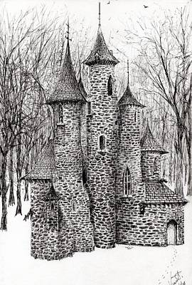 Pen And Ink Tree Drawing - The Castle In The Forest Of Findhorn by Vincent Alexander Booth