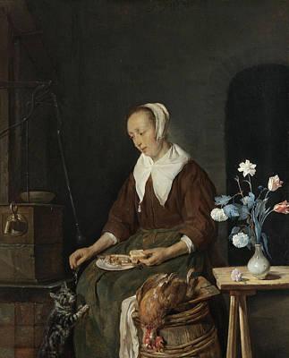 Vase Painting - The Cat's Breakfast by Gabriel Metsu