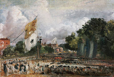 Townscape Painting - The Celebration In East Bergholt Of The Peace Of 1814 by John Constable