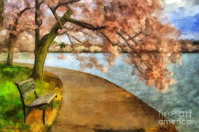 Peach Digital Art - The Cherry Blossom Festival by Lois Bryan