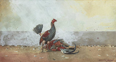 Cruelty Painting - The Cock Fight by Winslow Homer