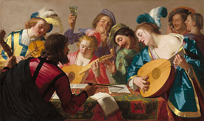 Guitar Painting - The Concert by Gerard van Honthorst