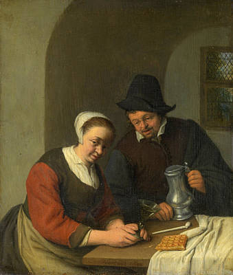 Couple Painting - The Confidential Service by Adriaen van Ostade