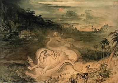 John Martin Drawing - The Country Of The Iguanodon by John Martin