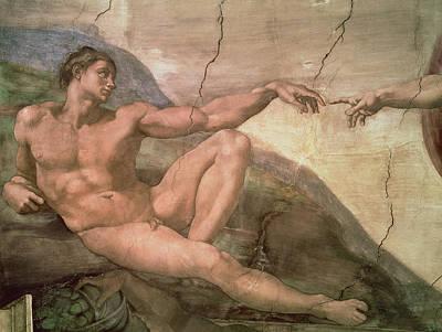Cracks Painting - The Creation Of Adam by Michelangelo Buonarroti