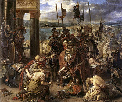 War Painting - The Crusaders Entry Into Constantinople by Eugene Delacroix