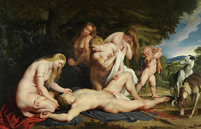 Aphrodite Painting - The Death Of Adonis, With Venus, Cupid, And The Three Graces by Peter Paul Rubens