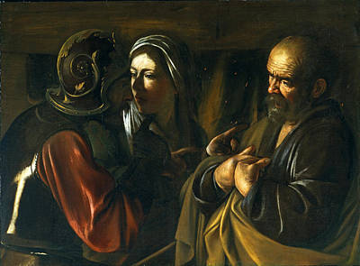 Caravaggio Painting - The Denial Of Saint Peter by Caravaggio