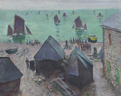 Sail-ship Painting - The Departure Of The Boats  Etretat by Claude Monet