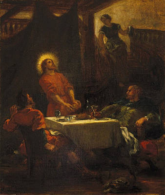 Disciples Painting - The Disciples At Emmaus by Eugene Delacroix