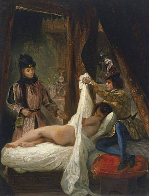 Bed Painting - The Duke Of Orleans Showing His Lover by Eugene Delacroix