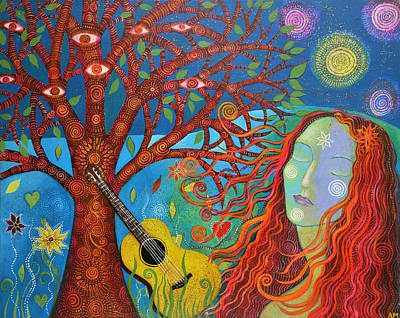 Tree With Eye Painting - The Face Of Peace  by Alice Mason