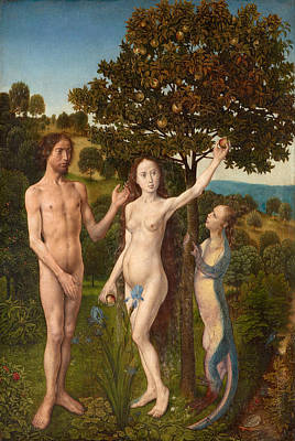 Parable Painting - The Fall Of Man And The Lamentation by Hugo van der Goes