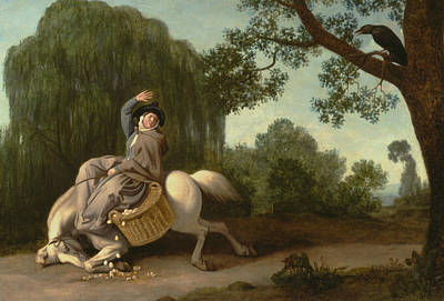 George The Painter Painting - The Farmer's Wife And The Raven by George Stubbs