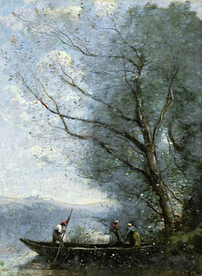 Winter Painting - The Ferryman by Camille Corot