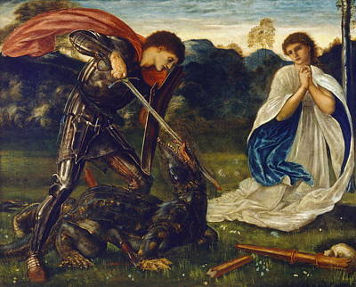 Saint George Painting - The Fight St George Kills The Dragon  by Edward Burne-Jones