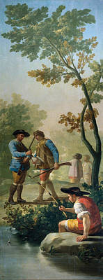 Angler Painting - The Fisherman With His Rod by Francisco Goya