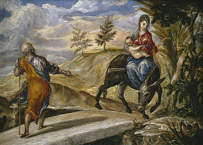 Mannerism Painting - The Flight Into Egypt by El Greco