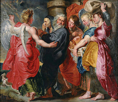 Jacob Jordaens Painting - The Flight Of Lot And His Family From Sodom by Jacob Jordaens