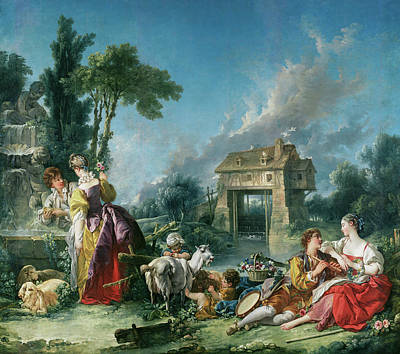 Animal Symbolism Painting - The Fountain Of Love by Francois Boucher