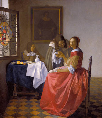 Drink Painting - The Girl With A Wineglass by Johannes Vermeer