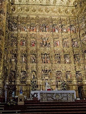 Retablo Photograph - The Golden Retablo Mayor - Cathedral Of Seville - Seville Spain by Jon Berghoff
