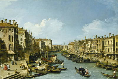 Italian Landscape Painting - The Grand Canal Near The Rialto Bridge, Venice by Canaletto