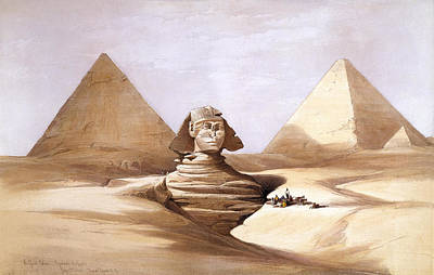 David Roberts Drawing - The Great Sphinx. Pyramids Of Gizeh by David Roberts