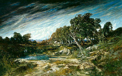 The Gust Of Wind Print by Gustave Courbet