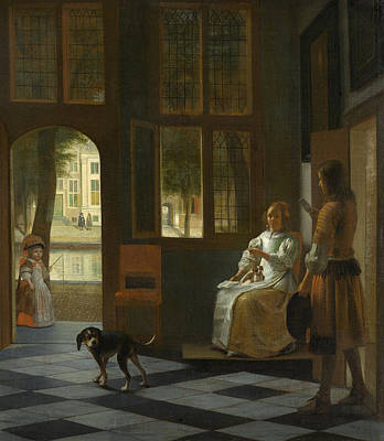 Puppy Painting - The Handing A Letter In A House by Pieter de Hooch