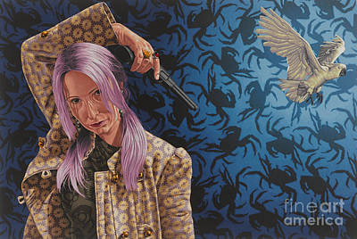Pink Hair Painting - The Hijacker by Stephen Hall