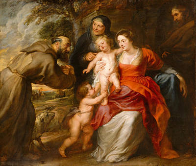The Holy Family With Saints Francis And Anne And The Infant Saint John The Baptist Print by Peter Paul Rubens