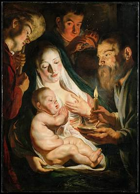 Jacob Jordaens Painting - The Holy Family With Shepherds by Jacob Jordaens