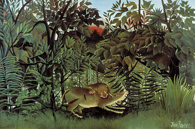 Lion Painting - The Hungry Lion Attacking An Antelope by Henri Rousseau