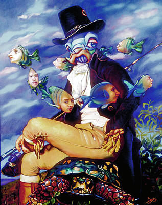 Merman Painting - The Incompleat Angler by Patrick Anthony Pierson