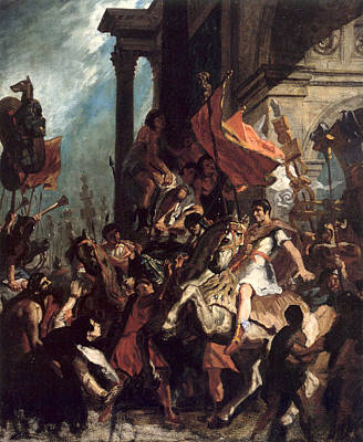 War Painting - The Justice Of Trajan by Eugene Delacroix