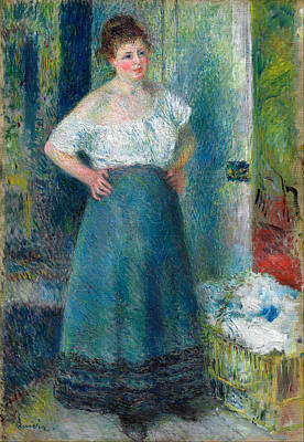 Laundry Painting - The Laundress by Pierre-Auguste Renoir