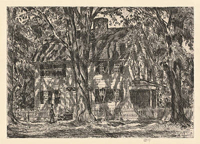Childe Hassam Drawing - The Lion Gardiner House. Easthampton by Childe Hassam