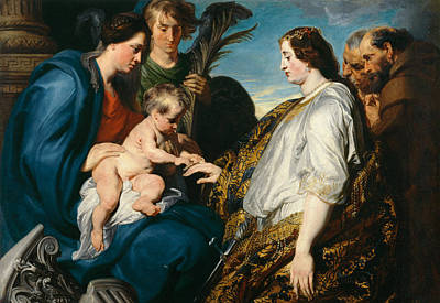 History Painting - The Mystic Betrothal Of Saint Catherina by Anthony van Dyck