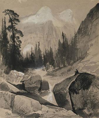 Yosemite National Park Drawing - The North Dome Yosemite California by Thomas Moran