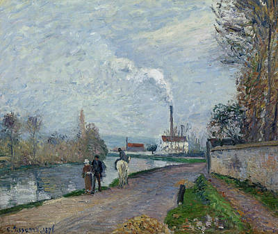 The Oise Near Pontoise In Grey Weather  Print by Camille Pissarro