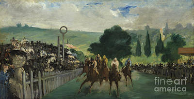 The Races At Longchamp Print by Edouard Manet