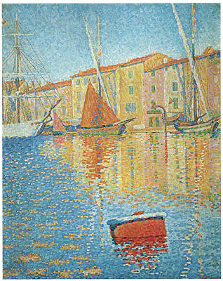 Sailboats In Harbor Painting - The Red Buoy by Paul Signac
