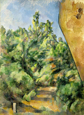 Post-impressionism Painting - The Red Rock by Paul Cezanne