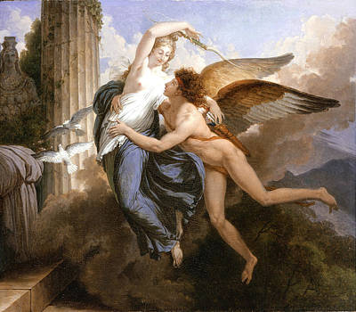 Jean-pierre Saint-ours Painting - The Reunion Of Cupid And Psyche by Jean-Pierre Saint-Ours