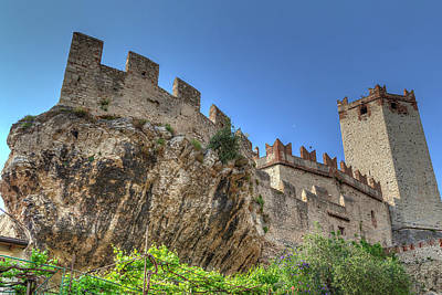 Photograph - the Scaliger Castle n the historical old town of the charming village Malcesine by Regina Koch