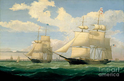 Fitz Painting - The Ships Winged Arrow And Southern Cross In Boston Harbor by Celestial Images