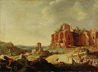 Bartholomeus Breenbergh Painting - The Stoning Of Saint Stephen by Bartholomeus Breenbergh