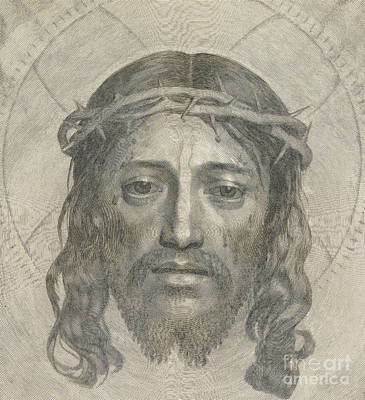 Jesus Art Drawing - The Sudarium Of Saint Veronica by Claude Mellan
