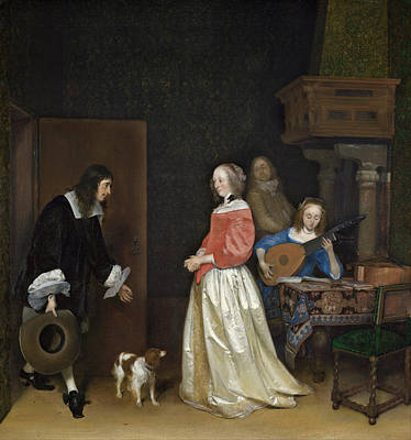 Guitar Painting - The Suitor's Visit by Gerard ter Borch